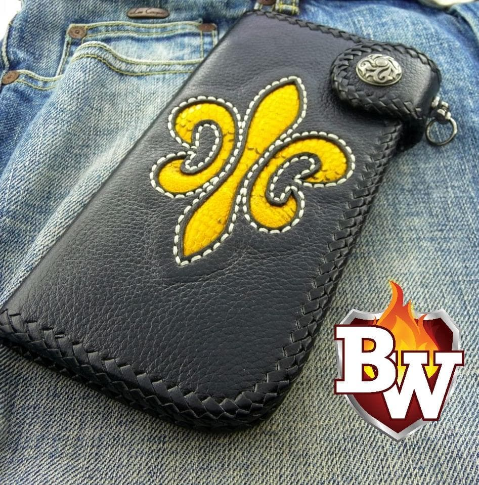 Fleur-de-lis 8-inch Custom Handmade Leather Biker Wallet | Custom Handmade Men's Leather Wallets at Biker-Wallets.com