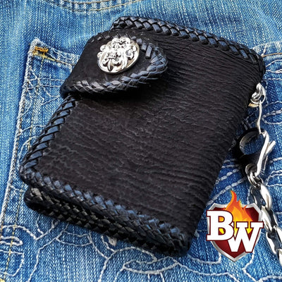Black Shark Secret Agent 5-inch Custom Handmade Trifold Biker Wallet | Custom Handmade Men's Leather Wallets at Biker-Wallets.com