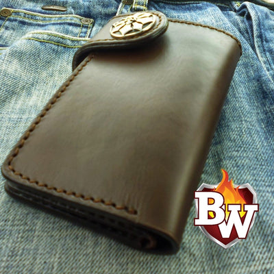 Glock  Leather Men's Biker Wallet 6-inch | Custom Handmade Men's Leather Wallets at Biker-Wallets.com