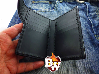 Cards and Coin Pocket Glock  Leather Men's Biker Wallet 6-inch | Custom Handmade Men's Leather Wallets at Biker-Wallets.com