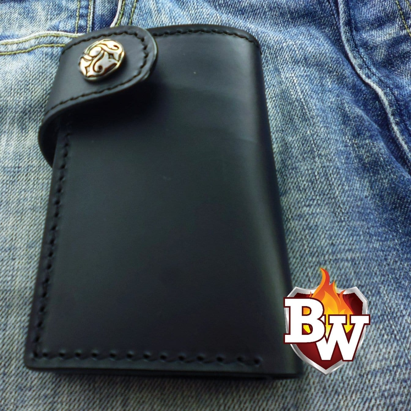 """Glock"" Custom Handmade Leather Men's Biker Wallet 6"""