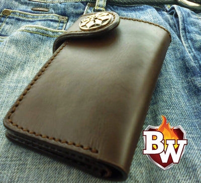 Cards Only Glock  Leather Men's Biker Wallet 6-inch | Custom Handmade Men's Leather Wallets at Biker-Wallets.com
