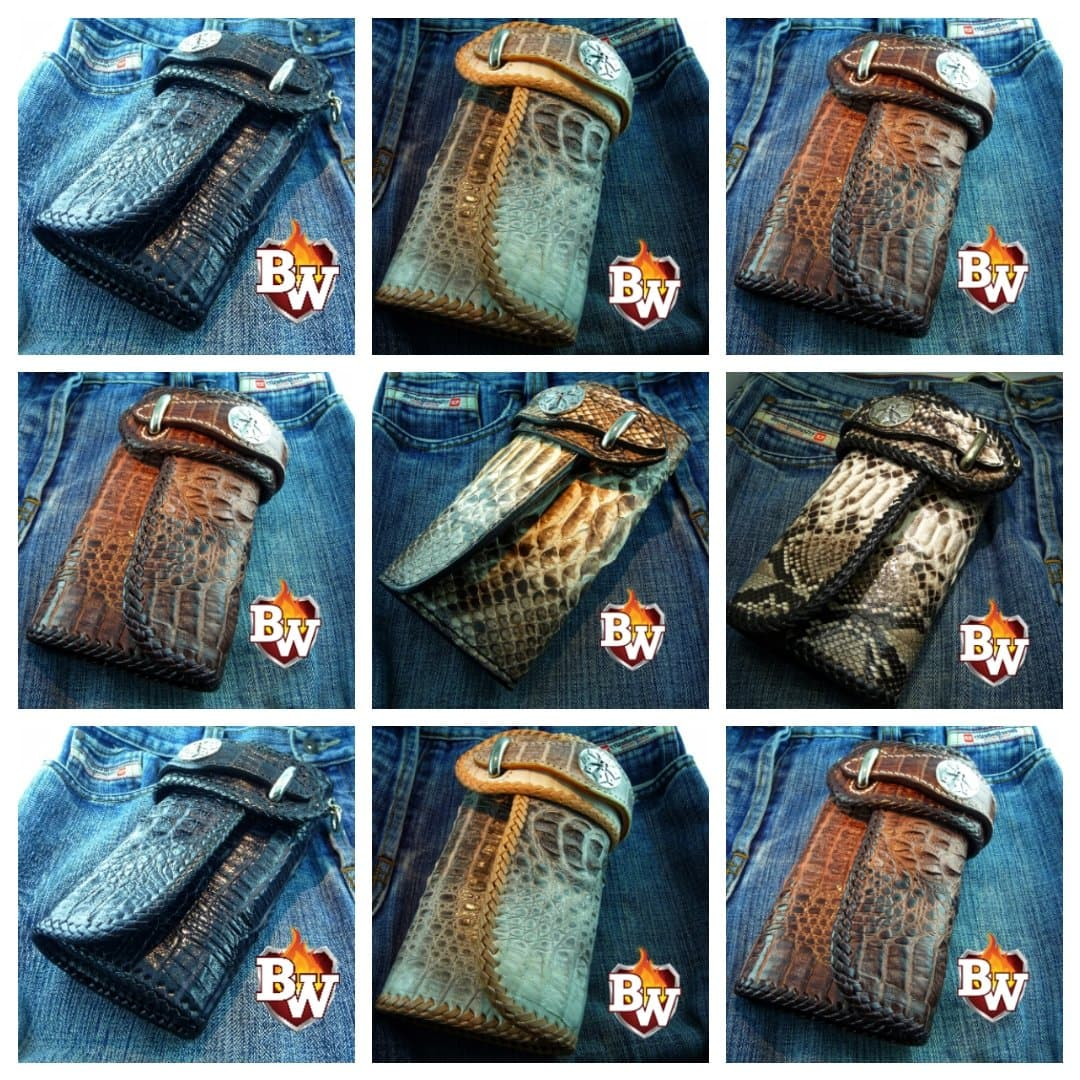 Brown Crocodile Goliath 8-inch  Men's Biker Chain Wallet | Custom Handmade Men's Leather Wallets at Biker-Wallets.com