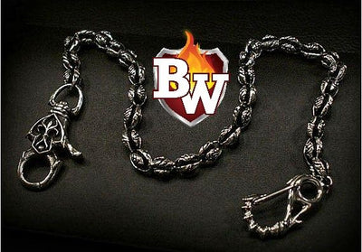 Gothic Custom .925 Silver Men's Biker Wallet Chain | Custom Handmade Men's Leather Wallets at Biker-Wallets.com