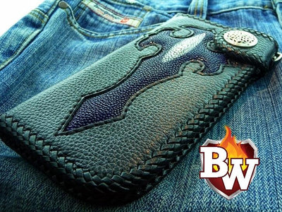 Bifold Blue Gothic 8-inch Shark and Leather with Stingray Custom Handmade Men's Biker Wallet | Custom Handmade Men's Leather Wallets at Biker-Wallets.com