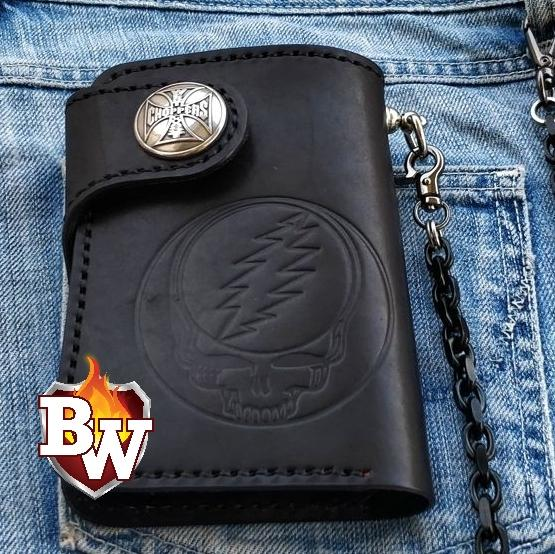 """Grateful Dead Head"" 6"" Handmade Hand Tooled Leather Biker Wallet"