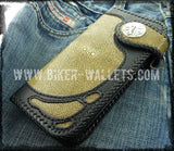 """Green Goblin"" 8"" Custom Handmade Stingray Men's Biker Wallet"