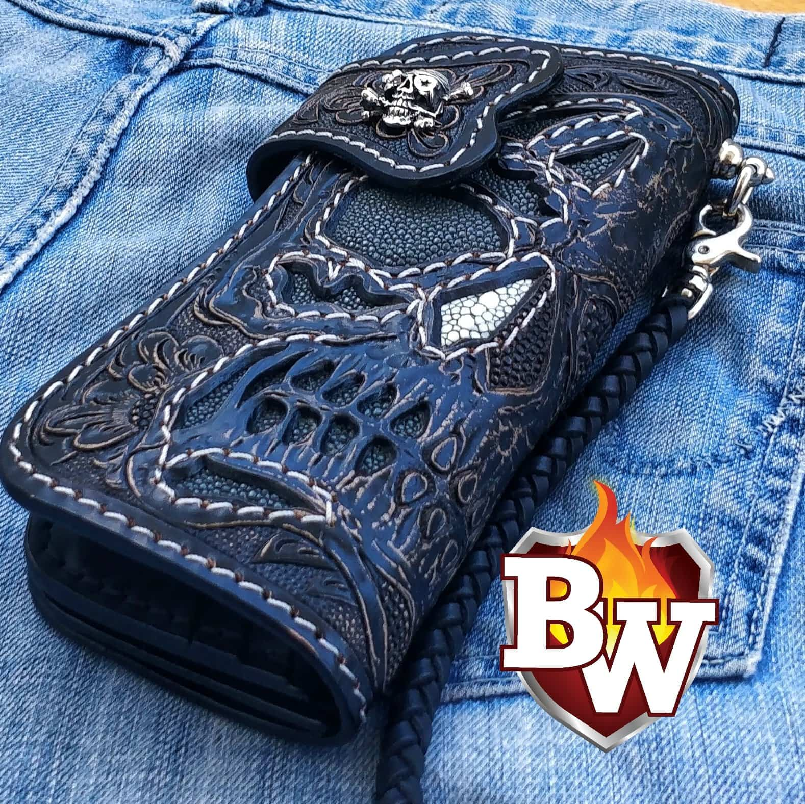 """Greybeard's Skull"" 8"" Custom Handmade Hand Tooled Stingray and Leather Men's Biker Wallet"