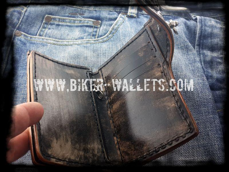 """Greybeard's Skull"" 6"" Custom Handmade Stingray Men's Biker Wallet"