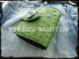 """The Grinch"" 5"" Custom Handmade Ostrich Skin and Leather Biker Wallet"