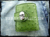 """The Grinch"" 5"" Custom Handmade Ostrich Skin and Leather Biker Wallet - Biker Wallets"