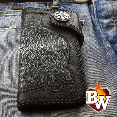 """Gustav"" 8"" Custom Handmade Stingray Men's Biker Wallet"