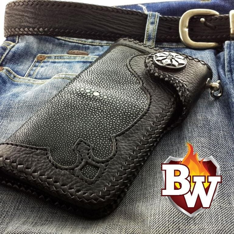 Black Gustav 8-inch  Stingray Men's Biker Wallet | Custom Handmade Men's Leather Wallets at Biker-Wallets.com