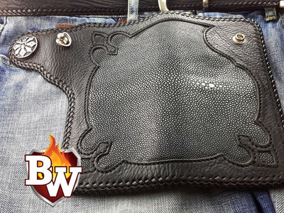 Gustav 8-inch  Stingray Men's Biker Wallet | Custom Handmade Men's Leather Wallets at Biker-Wallets.com