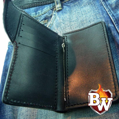 Hammered 6-inch  Leather Men's Biker Wallet | Custom Handmade Men's Leather Wallets at Biker-Wallets.com