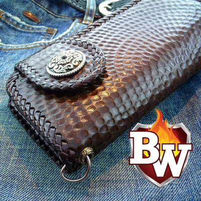 """Hammered"" 8"" Custom Handmade Leather Men's Biker Wallet"