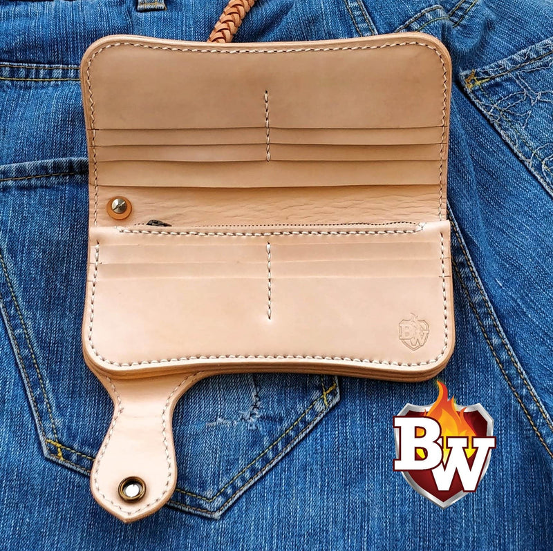 """Handmade"" 8"" Custom Handmade Leather Men's Biker Wallet"