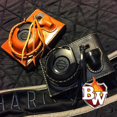tan Brawl Custom Handmade Harley Davidson Smart Security System Keychain FOB and 5-inch Biker Wallet | Custom Handmade Men's Leather Wallets at Biker-Wallets.com