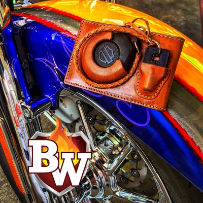 Brawl Custom Handmade Harley Davidson Smart Security System Keychain FOB and 5-inch Biker Wallet | Custom Handmade Men's Leather Wallets at Biker-Wallets.com