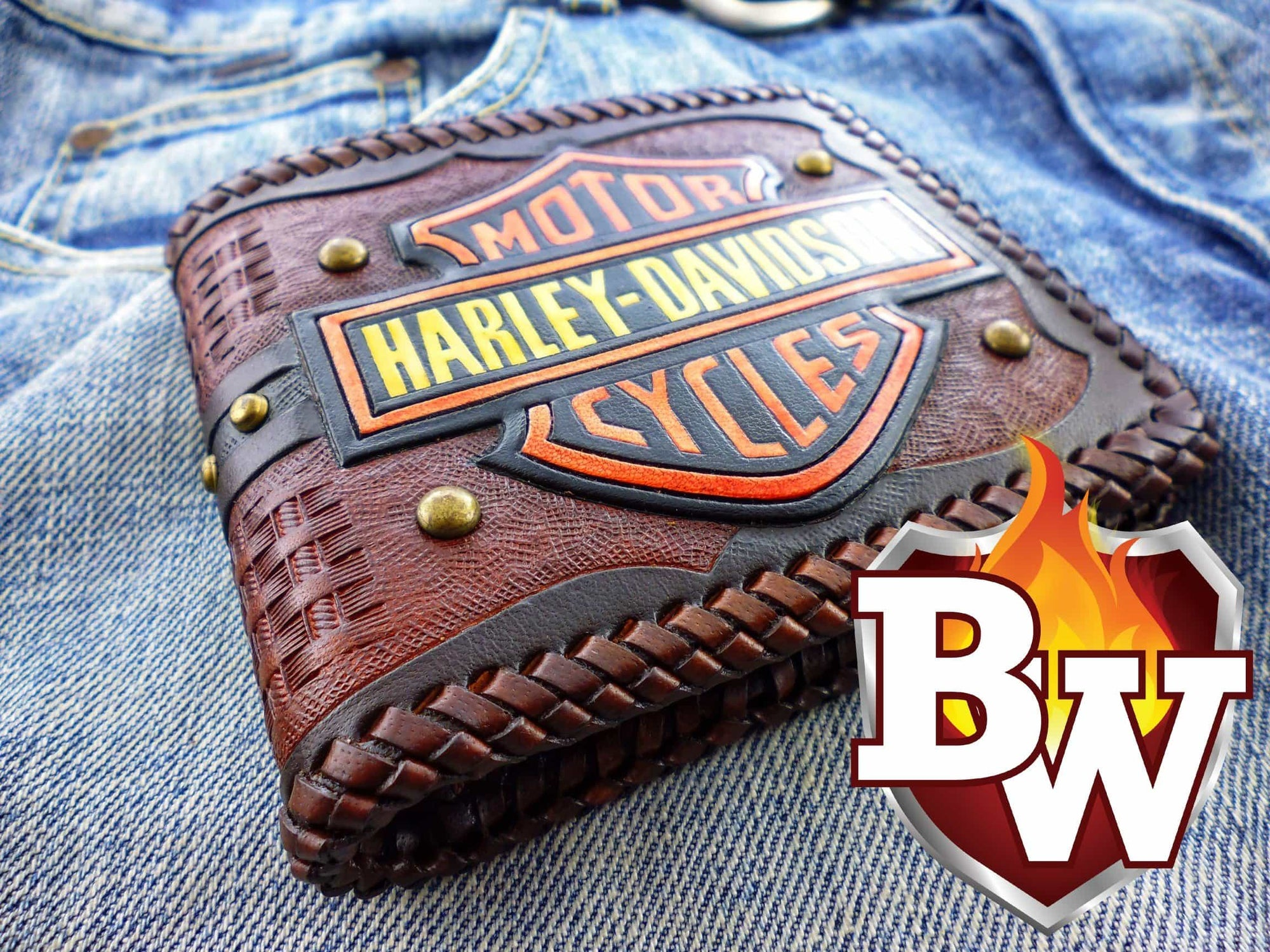 Harley Davidson 5 Custom Handmade Hand Tooled Leather Biker Wallet - Handcrafted Quality Genine Leather Backed by a 5-Year Warranty - Biker-Wallets.com