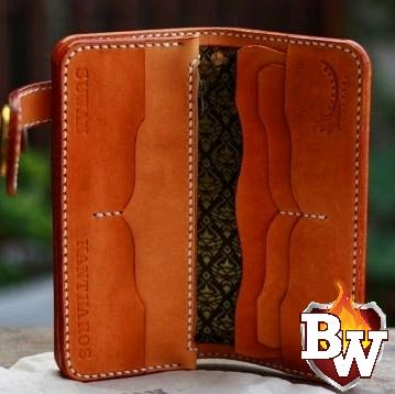 """Harvest"" 8"" Handmade Leather Men's Biker Wallet 8 Inch 5 Year Warranty"