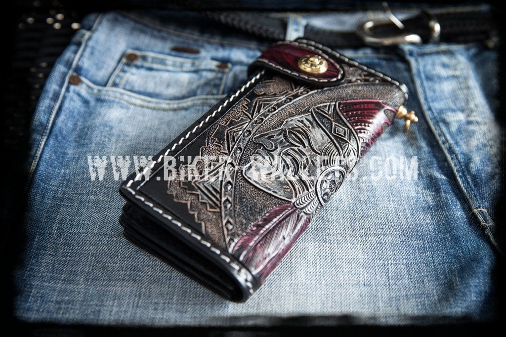 Chief 8 Custom Handmade Hand Tooled Leather Men's Biker Wallet - Handcrafted Quality Genine Leather Backed by a 5-Year Warranty - Biker-Wallets.com