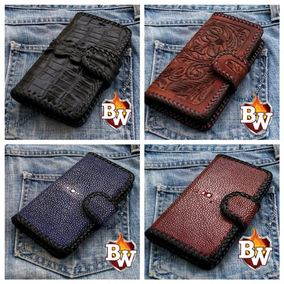 Black Croc Style 1 iPhone Biker Wallet Case | Custom Handmade Men's Leather Wallets at Biker-Wallets.com