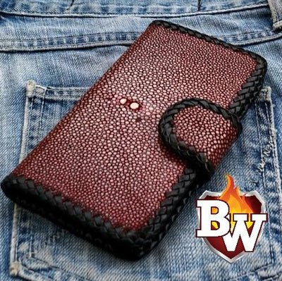 Red Stingray Style 1 iPhone Biker Wallet Case | Custom Handmade Men's Leather Wallets at Biker-Wallets.com