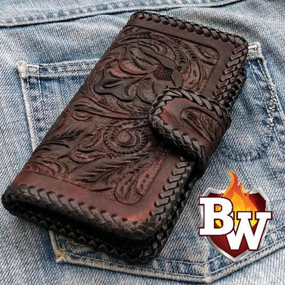 Burgundy Stingray Style 1 iPhone Biker Wallet Case | Custom Handmade Men's Leather Wallets at Biker-Wallets.com