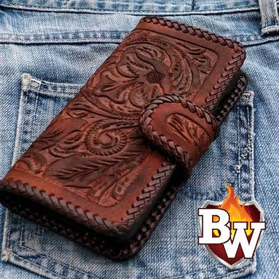 Blue Stingray Style 1 iPhone Biker Wallet Case | Custom Handmade Men's Leather Wallets at Biker-Wallets.com