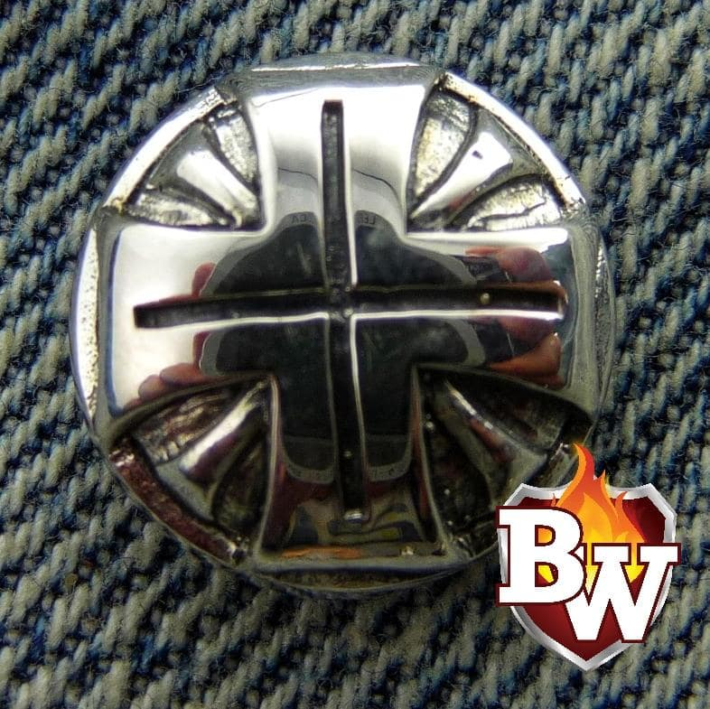"""Iron Cross"" .925 Silver Snap Concho Cap for Custom Biker Wallet"
