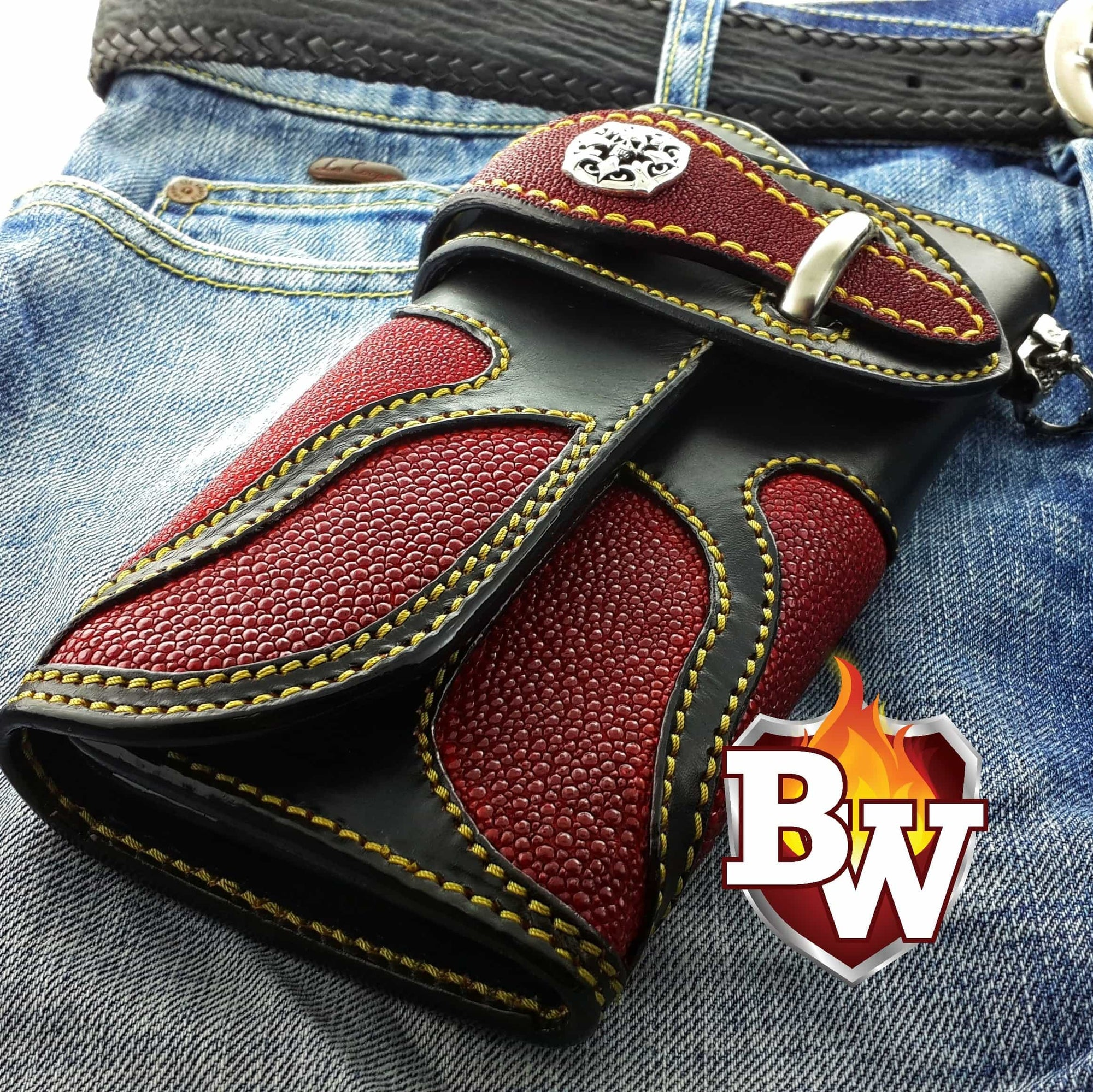 """Iron Man Big-Up"" 8"" Custom Handmade Stingray Men's Biker Wallet"