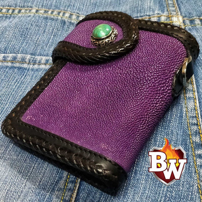 Island Hopper 6-inch Custom Stingray Skin Biker Wallet | Custom Handmade Men's Leather Wallets at Biker-Wallets.com