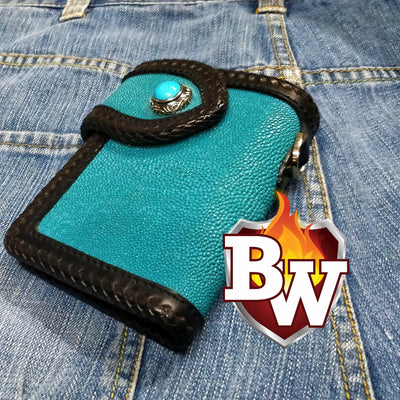 Turquoise Island Hopper 6-inch Custom Stingray Skin Biker Wallet | Custom Handmade Men's Leather Wallets at Biker-Wallets.com