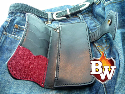 Jag 8-inch  Stingray Men's Biker Wallet | Custom Handmade Men's Leather Wallets at Biker-Wallets.com