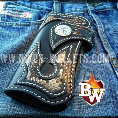 Snake Skin Jag 8-inch  Stingray Men's Biker Wallet | Custom Handmade Men's Leather Wallets at Biker-Wallets.com