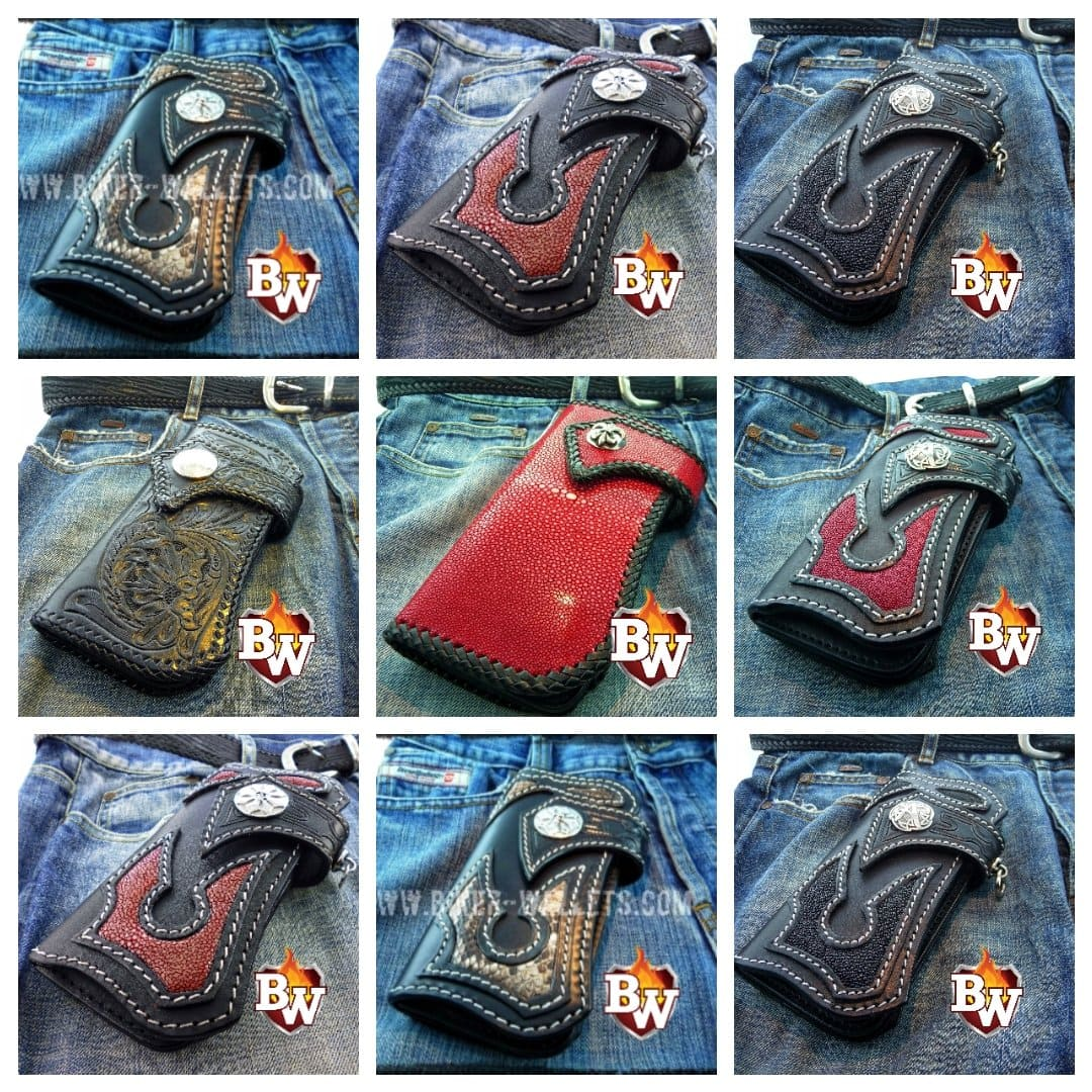 """Jag"" 8"" Custom Handmade Stingray Men's Biker Wallet"