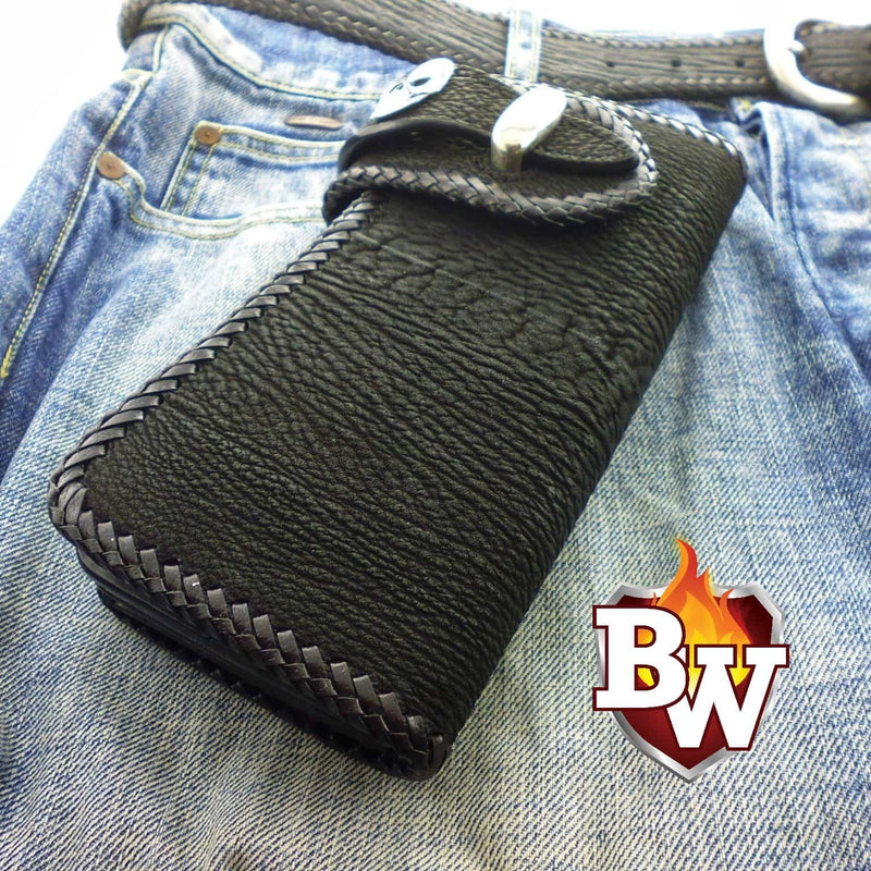 Style 1 Jaws 8-inch Custom Handmade Genuine Shark Skin Biker Wallet | Custom Handmade Men's Leather Wallets at Biker-Wallets.com
