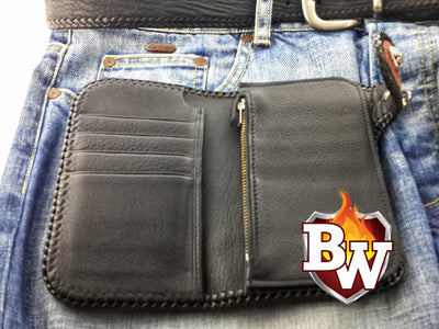 Jaws 6-inch  Shark Men's Biker Wallet | Custom Handmade Men's Leather Wallets at Biker-Wallets.com