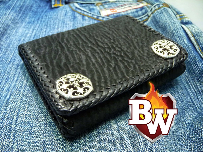 Black Trifold Hand Stitched Jaws 5-inch  Shark Men's Biker Wallet | Custom Handmade Men's Leather Wallets at Biker-Wallets.com