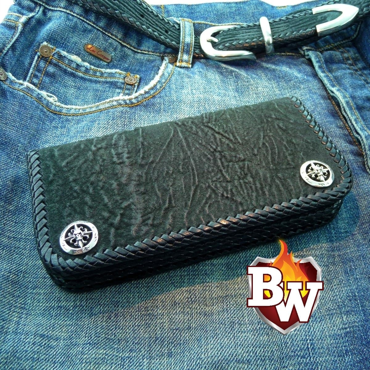 Jaws 7-inch  Shark Men's Biker Wallet | Custom Handmade Men's Leather Wallets at Biker-Wallets.com