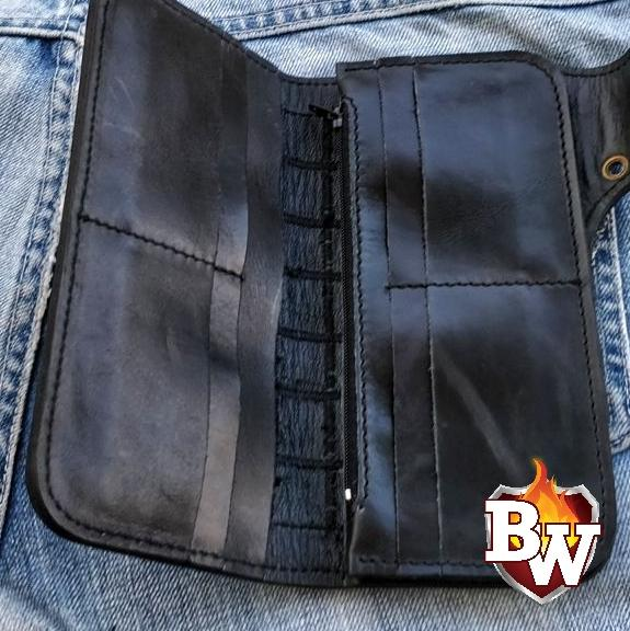 """Jaws Patchwork"" 8"" Shark Skin Handmade Biker Chain Wallet."