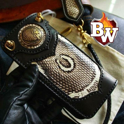 """Justice"" 8"" Handmade Redmoon Leather and Cobra Snake Skin and Crocodile  Men's Biker Wallet"