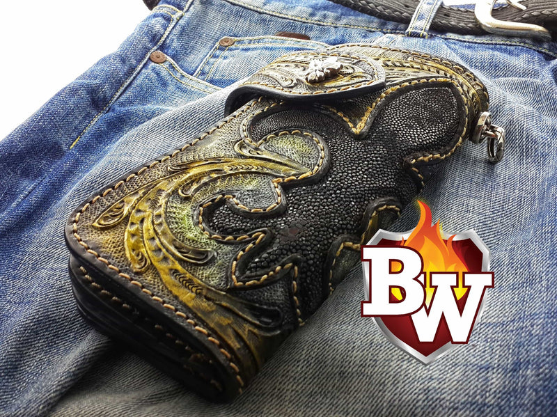 """Kingpin"" 8"" Custom Handmade Stingray Men's Biker Wallet"