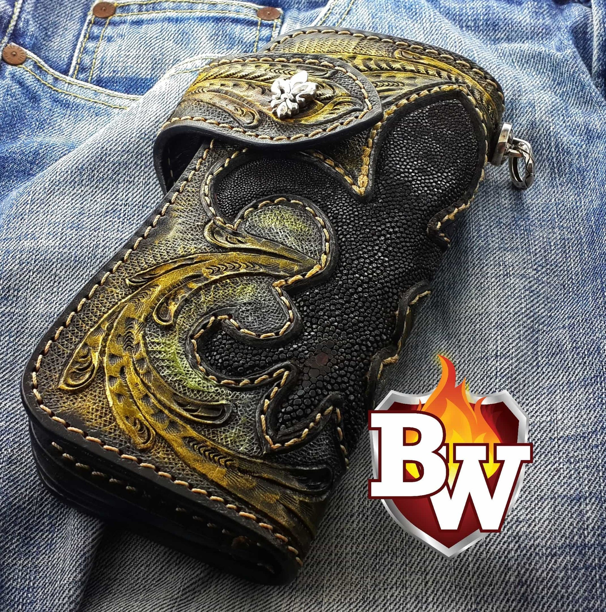 """Kingpin Mini"" 6"" Custom Handmade Stingray Men's Biker Wallet"
