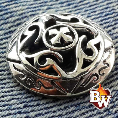 """Knight's Templar"" .925 Silver Snap Concho Cap for Custom Biker Wallet"