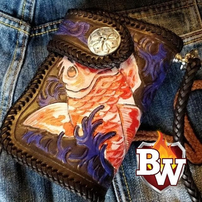 KOI 6-inch  Leather Men's Biker Wallet | Custom Handmade Men's Leather Wallets at Biker-Wallets.com