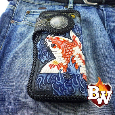 KOI 8-inch  Leather Men's Biker Wallet | Custom Handmade Men's Leather Wallets at Biker-Wallets.com