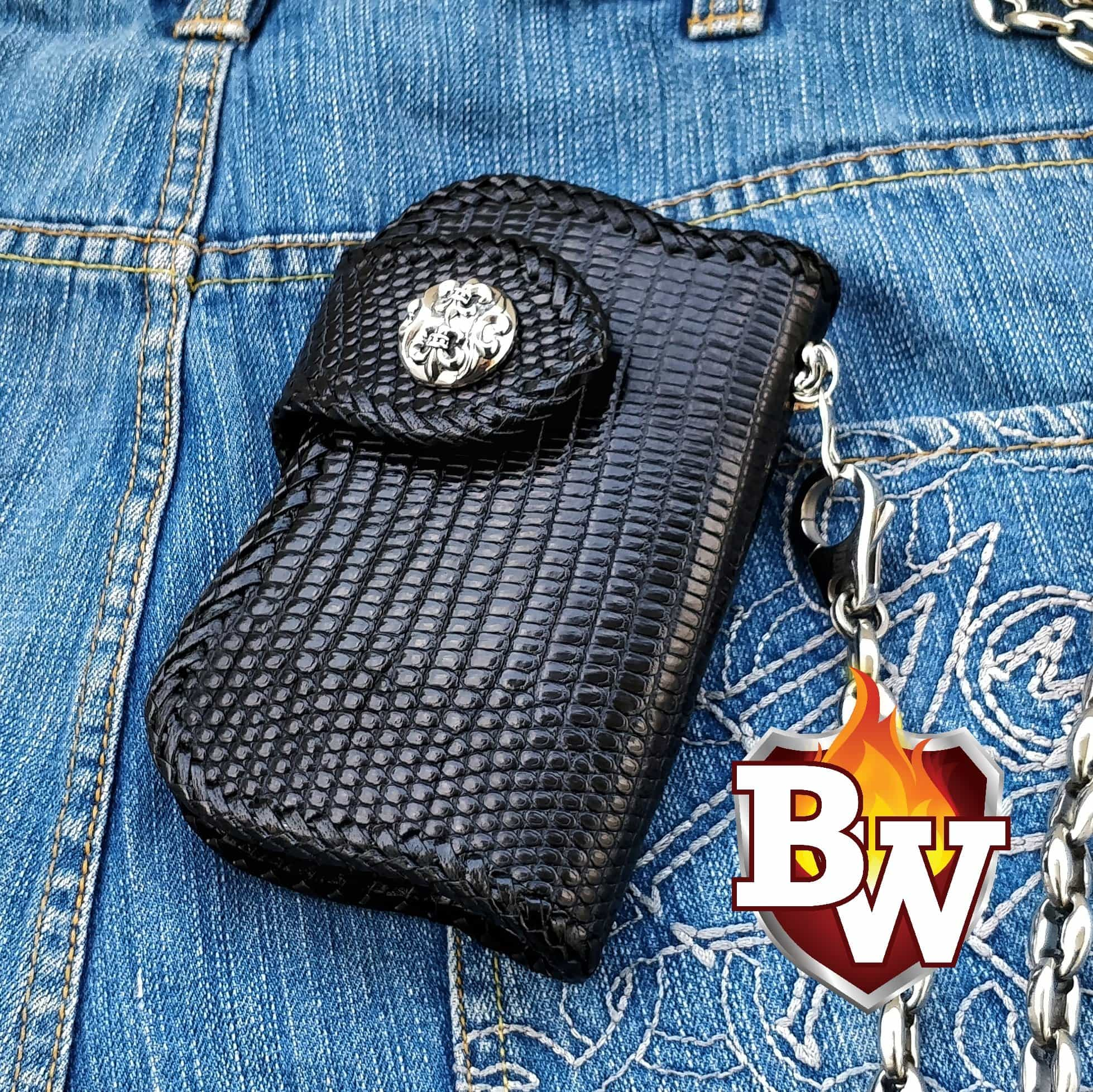 "The ""Komodo Dragon"" 6"" Custom Handmade Biker Wallet"