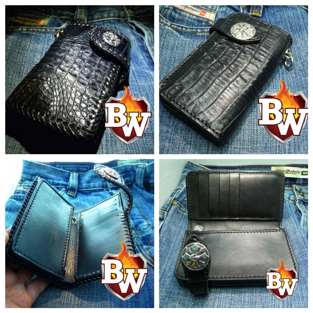 """Loot Black"" 6"" Custom Handmade Men's Biker Chain Wallet"